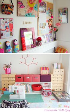 Organized and colorful craft space