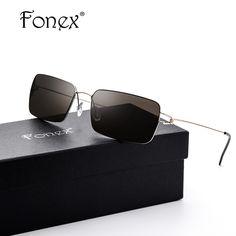 865d997851e FONEX Screwless Eyewear Men Square Sunglasses Men Famous Brand Designer Sun  Glasses Frames Korean Moon Jae-in Denmark Handmade