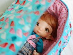 Travel Bag Sleeping Protective Doll Blythe Littlefee Penny by Linda Macario YOSD Case Handmade 1/6 Bjd Turquoise Pink Birds - https://www.etsy.com/listing/456317924/travel-bag-sleeping-protective-doll?ref=shop_home_active_3