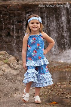 Baby & Toddler Girls Clothing New Spring Summer Singing Little Mermaid Ruffled Halter and Capri Shorts Outfit Set