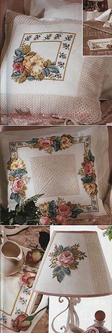 Подушки+торшер+салфетка Викторианские розы Вышивка крестом, схемы. Cushion Cover Pattern, Cross Stitch Flowers, Bargello, Needlework, Projects To Try, Shabby, Embroidery, Pillows, Handmade