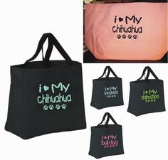 TOTE Bag I LOVE MY DOGGY CHIHUAHUA DALMATION PUPPY BREEDER  ANY BREED  GIFT #PORTCO #TotesShoppers