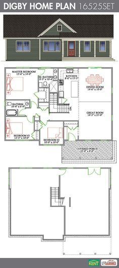 Digby 3 Bedroom, 2 Bathroom Home Plan. Features: Open Concept Great Room/