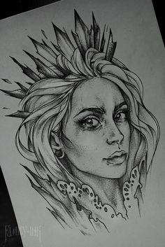 Girl head tattoosketch unique by Family Ink #blacktattooart #tattoosketch #art #girltattoo #drawing #girlface