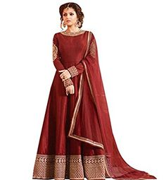Look like beautiful Drashti Dhami in this maroon art raw silk anarkali suit with lucknowi cording work with sequin on lower part of the kameez and neckline. Comes with matching bottom and dupatta. Designer Salwar Kameez, Designer Anarkali Dresses, Designer Sarees, Silk Anarkali Suits, Anarkali Gown, Salwar Suits, Indian Dresses, Indian Outfits, Nice Dresses