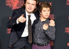 Joe Keery and Gaten Matarazzo at the premiere of Stranger Things 2!!!!!