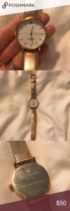 Kate Spade Rose Gold Watch Kate spade live colorfully rose gold watch. Water resistant, barely warn, still has the protective sticker on the back. Genuine leather in a rose gold color. *** the battery just died so you need to replace it, updated price to reflect this *** kate spade Accessories Watches