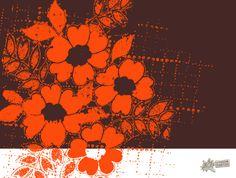 orange flowers card by: flying bathtub designs