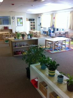 Montessori Classrooms are different but with similarities such as light, natural materials and plants.
