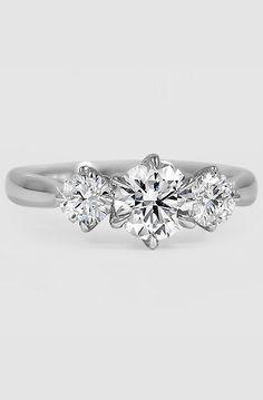 18K White Gold Three Stone Catalina Diamond Ring