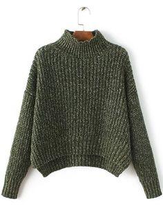72fb4f355d Shop Army Green Mock Neck Drop Shoulder Dip Hem Sweater online. SheIn  offers Army Green