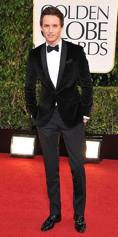 Eddie Redmayne in a velvet dinner jacket via MyTuxedoCatalog.com