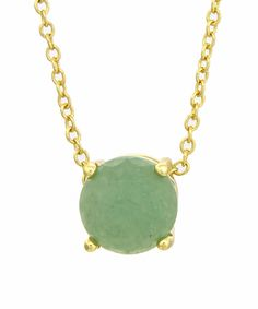 Look at this Green Aventurine & Gold Sliding Pendant Necklace on #zulily today!
