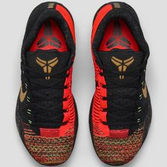 """The latest Kobe X Elite Low, as part of Nike's """"Fire and Ice"""" Christmas Collection help celebrates Kobe's championship success with features of multicolor Flyknit on the toe and five golden rings on the heel."""