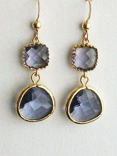 Iolite Earrings Iolite gold earrings. Tanzanite Purple by AnnTig, $28.00