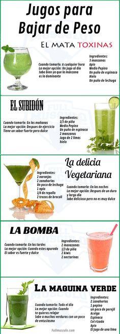 infografia de jugos para adelgazar. #Fitness #Fit #Diet #LoseWeight #weightLoss #BajarDePeso #Adelgazar