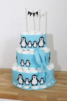 DIY - Windeltorte - Pinguine - Geschenk zur Geburt oder zur Babyshower