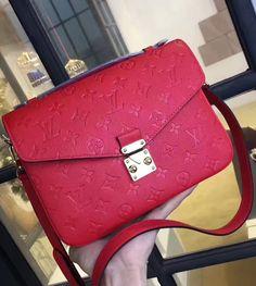 Louis Vuitton Monogram Empreinte Pochette Metis Red.  View more gorgeous bags at http://www.luxtime.su/