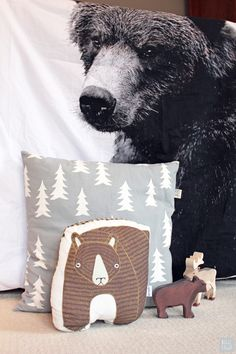 Bear bedding by By Nord, 'Gran' tree cushion by Fine Little Day and 'Big Bear' cushion by Gingiber, room design and styling by Bobby Rabbit