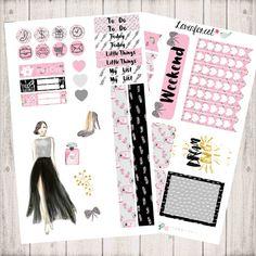 fashion girl planner stickers kit, erin condren planner sticker, happy planner stickers, January planner sticker, mini kit sticker, MK0015