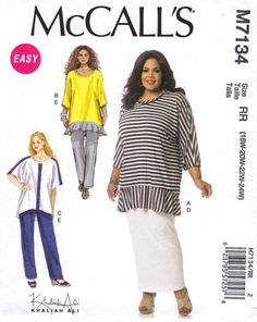 McCall's Sewing Pattern 7134 Women's Plus Size 18W-24W  Easy Khaliah Ali Knit Tunics Skirt Pants  --  Need a different size or pattern? Check out our store www.MoonwishesSewingandCrafts.com for 8000+ uncut sewing patterns all sizes and styles!
