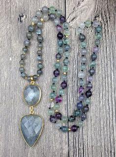 3a0fb56ef Labradorite Pendant Stone, Fluorite Beads, gold metal, Mala, necklace  jewelry