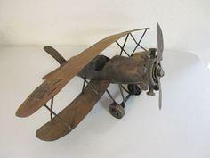 Vintage Industrial Sculpture Steampunk Metal Airplane