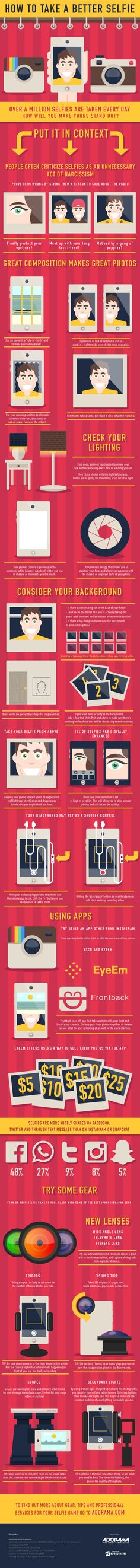 Infographic of how to take a better selfie. Your teen doesn't need these instructions... lol!
