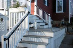 Like the way the steps come down onto a landing so the porch railing looks like there is a second deck, nice landing area then steps turn & go down ~ Metal Deck Railing - from Simplified Building Concepts {Easy to Install Metal Deck Railing}