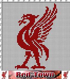 Liverpool FC Liver bird chart x 64 rows Hama Beads Design, Hama Beads Patterns, Beading Patterns, Cross Stitching, Cross Stitch Embroidery, Cross Stitch Patterns, Knitting Charts, Knitting Patterns, Crochet Patterns
