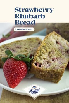 Rhubarb Bread, Rhubarb Desserts, Rhubarb Recipes, Strawberry Recipes, Strawberry Bread, Healthy Dessert Recipes, Baking Recipes, Delicious Desserts, Yummy Food