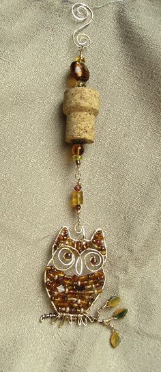 Owl wine cork ornament by RissasUniquelyWired on Etsy