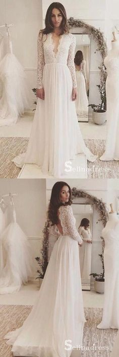 Long Sleeve Wedding Dress Chiffon Lace VNeck Wedding Dress Lace Wedding Dress Chiffon Wedding Dress Wedding Dresses Wedding Dress With Sleeves Wedding Dresses 2018 Wedding Dress Chiffon, Long Sleeve Bridal Dresses, Open Back Wedding Dress, Wedding Dress Trends, Long Wedding Dresses, Bridal Gowns, Dresses With Sleeves, Lace Sleeves, Prom Dresses