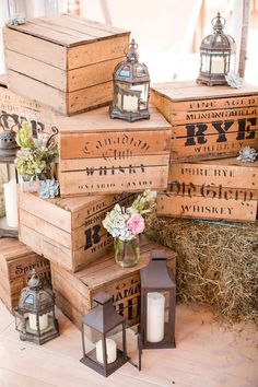 vintage rustic lantern wooden box wedding decor / http://www.deerpearlflowers.com/country-wooden-crates-wedding-ideas/3/