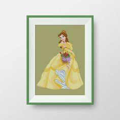 Belle cross stitch pattern, Instant Download, Disney Princesses cross stitch pattern, Beauty and the Beast, P085 by NataliNeedlework on Etsy