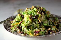Shaved Brussels Sprouts Salad with Lentils, Cranberries, Walnuts, Chestnuts, and Orange Zest & Orange Tahini Dressing Shaved Brussel Sprout Salad, Sprouts Salad, Brussels Sprouts, Fall Recipes, Soup Recipes, Healthy Recipes, Mixed Vegetables, Veggies, Raw Vegan Dinners