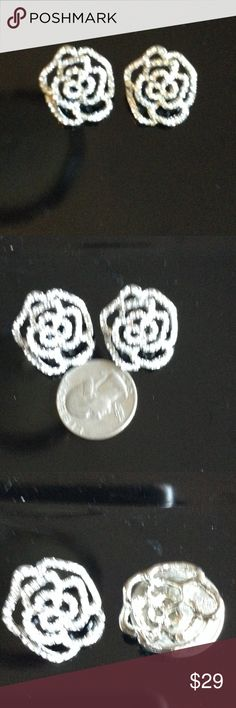 New beautiful Crystal camellia earrings lg Paris New fab crystal camellia earrings large ? Looks awesome with anything Jewelry Earrings