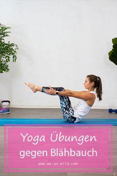 Du hast einen aufgeblähten Bauch? Dann solltest du diese Yoga Übungen gegen Blähbauch machen. Starte jetzt mit dem Workout! Yoga Am Morgen, Sixpack Training, Yoga Fitness, Fitness Workouts, Yin Yoga, Ayurveda, Versuch, Beach Mat, Detox