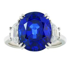 10.12 Carat Ceylon Sapphire Diamond Platinum Ring | From a unique collection of vintage three-stone rings at https://www.1stdibs.com/jewelry/rings/three-stone-rings/