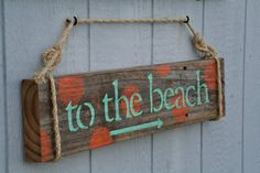 Reclaimed Wood Sign To The Beach Coastal Chic by DocksideCottage, $39.99