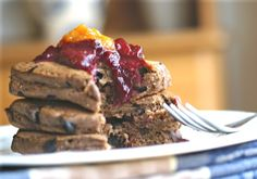 Carob and Buckwheat Pancakes with Almonds and Chocolate Chips (sugar-free, egg-free, dairy-free, gluten-free, xanthan-free, vegan)