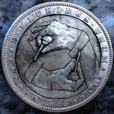 CHAD SMITH HOBO DOLLAR - GRAVING HANDS - 1898 MORGAN DOLLAR Coins, Carving, Hands, Rooms, Wood Carvings, Sculptures, Printmaking, Wood Carving