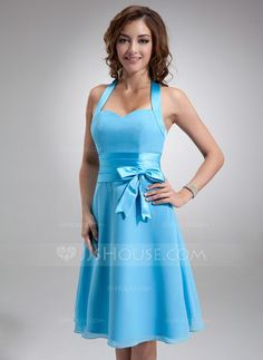 Bridesmaid Dresses - $79.99 - A-Line/Princess Halter Knee-Length Chiffon Satin Bridesmaid Dress With Ruffle Bow(s) (007000937) http://jjshouse.com/A-Line-Princess-Halter-Knee-Length-Chiffon-Satin-Bridesmaid-Dress-With-Ruffle-Bow-S-007000937-g937