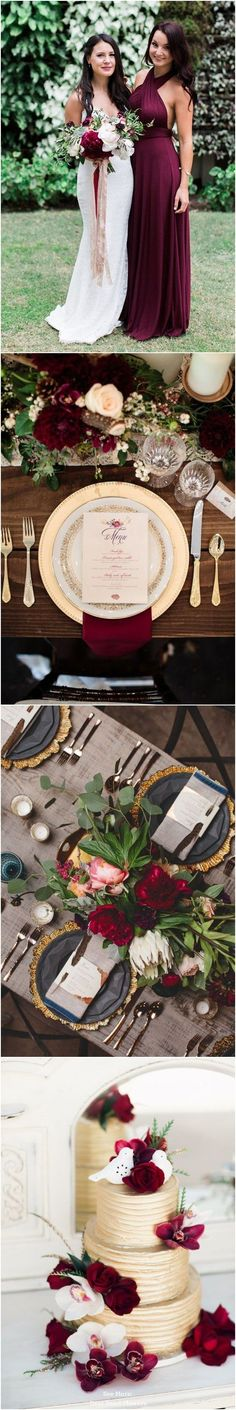 burgundy and gold fall wedding color ideas / www. autumn wedding colors / wedding in fall / fall wedding color ideas / fall wedding party / april wedding ideas Fall Wedding Colors, Autumn Wedding, Wedding Color Schemes, Wedding Goals, Dream Wedding, Wedding Day, Gold Wedding, Wedding Ceremony, Reception