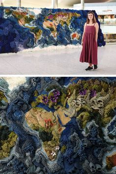 Textile artist Vanessa Barragão's latest piece, Botanical Tapestry, represents the map of the world.
