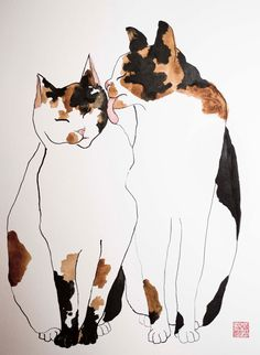 Cat friends - original ink and watercolor mixed technique, original brush drawing on fine quality watercolor paper, 18x24 inch paper  ALSO AVAILABLE for INSTANT DOWNLOAD FROM MY ETSY STORE:-)   For shipping I will place the drawing into a cardboard document tube (4x18 inches).  If you like this drawing but you would like it with your pet on it I am happy to try it with no risk (you can decide after I made to buy it or not). Price will be the same as the sample you choose before. You need to…