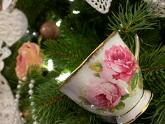 antique christmas balls in a snap, christmas decorations, seasonal holiday decor, The Grantham ladies drink plenty of tea so some antique tea cups were a must have item on this tree Cone Christmas Trees, Snowman Christmas Ornaments, Christmas Tea, Christmas Tree Themes, Antique Christmas, Christmas Balls, Christmas Wreaths, Christmas Crafts, Outdoor Christmas