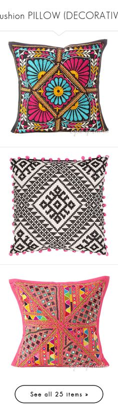 """Cushion PILLOW (DECORATIVE)"" by killasuki ❤ liked on Polyvore featuring home, home decor, throw pillows, bohemian home decor, bohemian style home decor, boho throw pillows, boho style home decor, black toss pillows, pillows and almofada"
