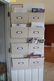 diy kinda girl: It's amazing what you can make from cardboard and an old sheet = Wall Pocket organizer Organisation Hacks, Folder Organization, Office Organization, Paper Organization, Office Storage, Organizing Ideas, Diy Organizer, Hanging Organizer, Pocket Organizer