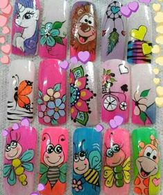 Unas Animal Nail Designs, Nail Art Designs Videos, Animal Nail Art, Butterfly Nail Art, Flower Nail Art, Mandala Nails, Natural Nail Designs, Nails For Kids, Beautiful Nail Art